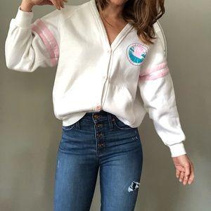 Vintage white baggy cardigan sweatshirt